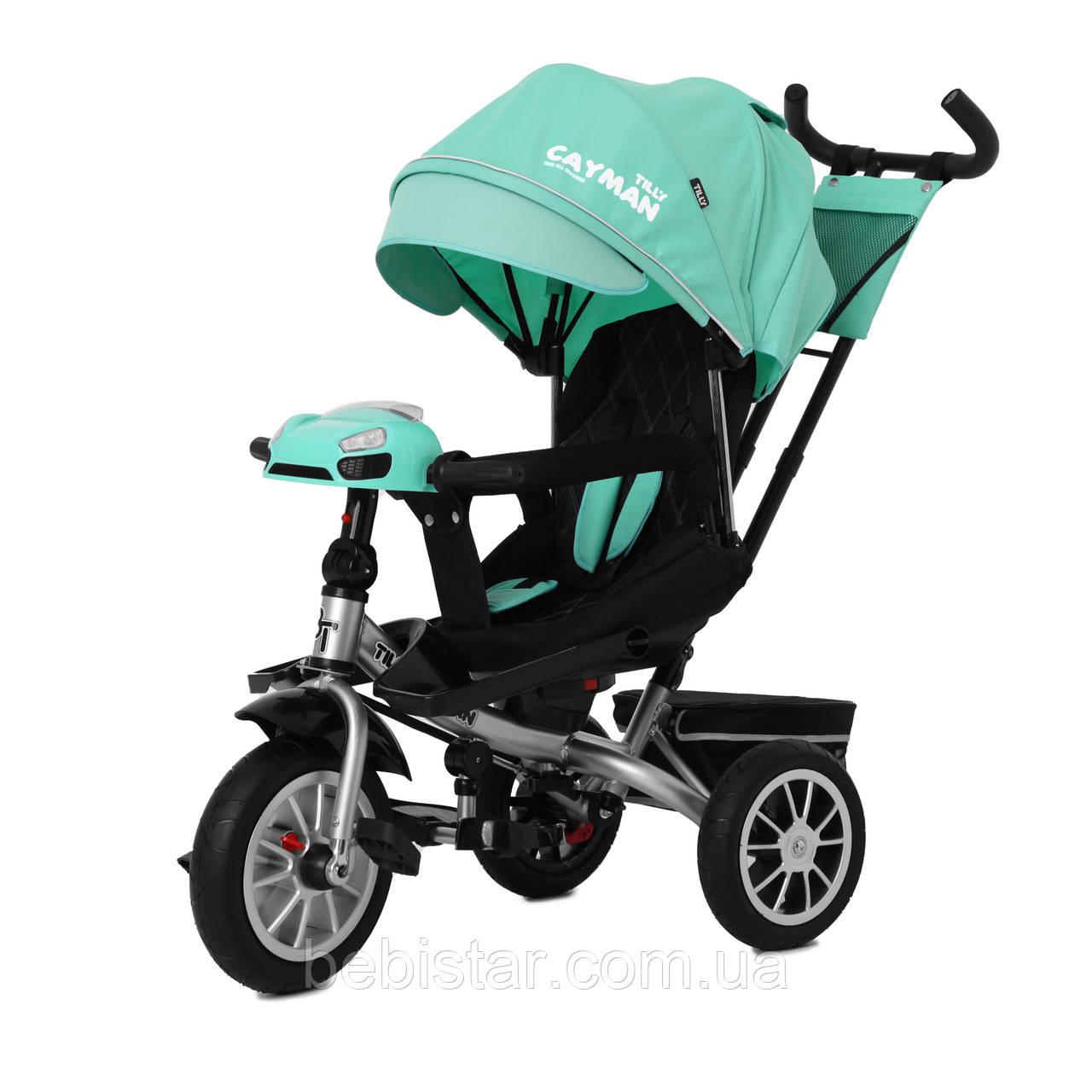 Триколісний велосипед TILLY CAYMAN 381/3 зелений пульт поворот сидіння надувні коліс музика і світло