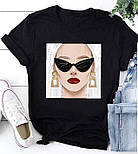 Жіноча стильна біла і чорна футболка з малюнками (різні малюнки), фото 3