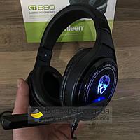 Игровые наушники с микрофоном Canleen CT990 геймерские проводные стерео для компьютера и ноутбука с подсветкой
