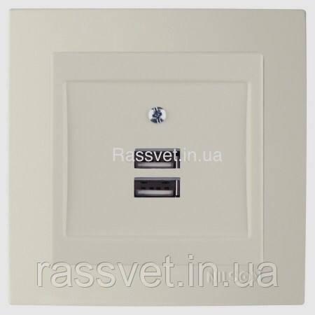Розетка    Nilson Touran  крем 2ная USB