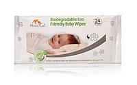 Серветки вологі біорозчинні Mommy Care Biodegradable Organic Baby Wipes 24 шт./паков.