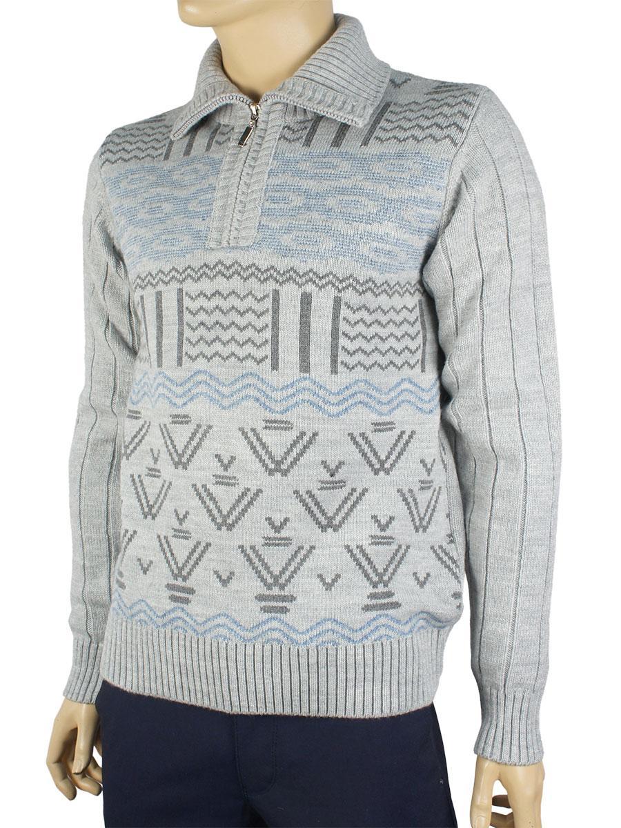 Зимний мужской вязаный свитер Ferraro в темно-сером цвете 0530 Н