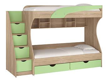 Двухъярусная кровать Фисташковый/Дуб сонома