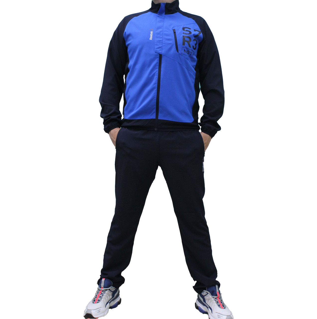 Болоневый тонкий яркий костюм Reebok CrossFit с прямыми штанами (Реплика)