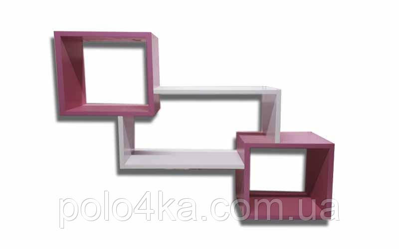 Полочка настенная Тройная ДСП (розовый/белый/розовый)