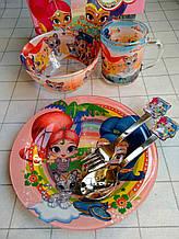 Дитячий набір скляного посуду для годування Принцеса 5 предметів