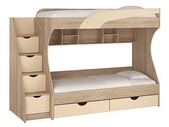 Кровать двухъярусная Кадет ДСП Дуб сонома+МДФ ваниль