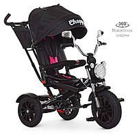 Детский трехколесный велосипед TURBO TRIKE M 4056HA-20-4 Черный | Велосипед-коляска Турбо Трайк музыка и свет