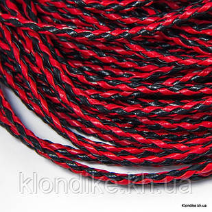 Шнур Искусственная Кожа, Плетёный, 3 мм, Цвет: Красно-черный (1 метр)