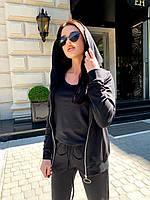 Однотонный спортивный костюм женский, черный