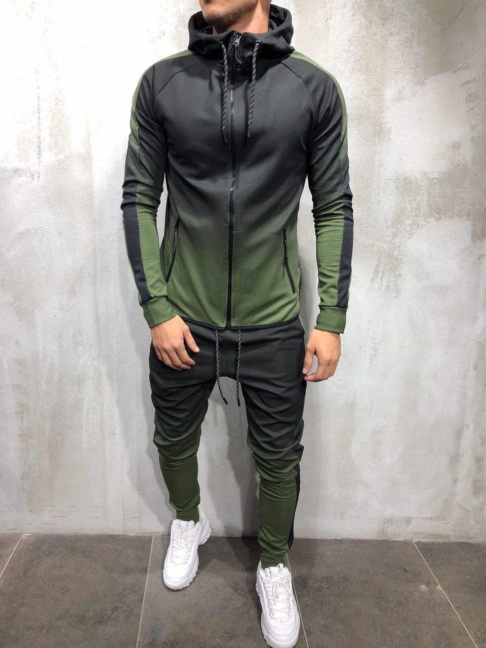 Мужской спортивный костюм градиент 2Y Premium 9080 khaki