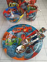 Дитячий набір скляного посуду для годування Тачки 5 предметів