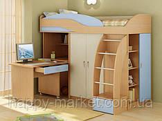 Кровать чердак со шкафом и  мобильным столом  ,КЧМС- 0505