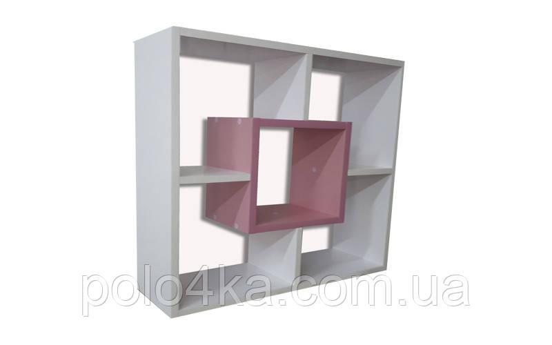 Полка настенная Квадрат ДСП бело/розовая