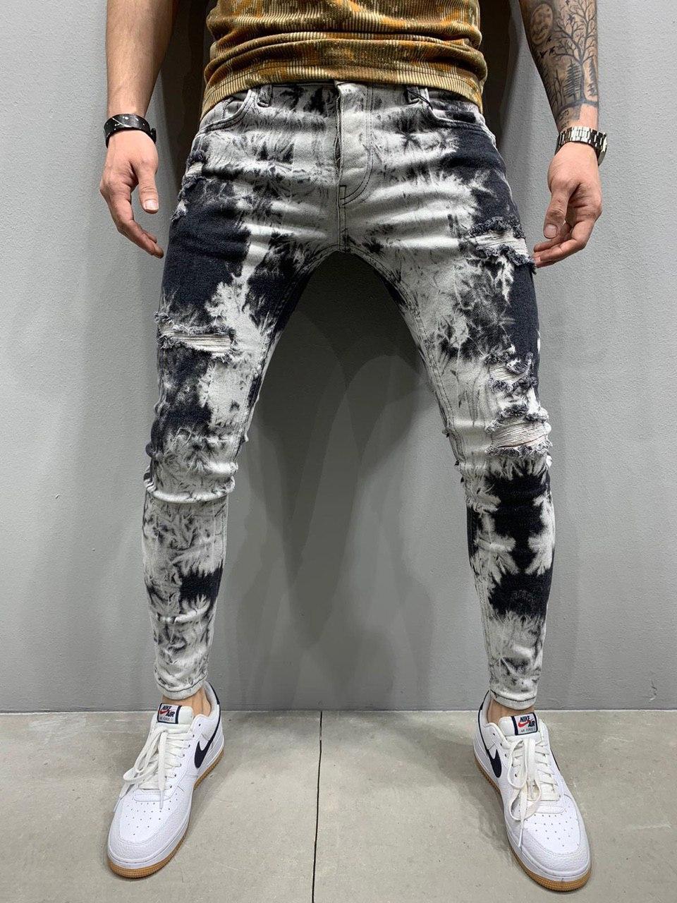 Джинси - чоловічі чорно-білі джинси ексклюзивний фасон