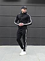 Спортивный костюм мужской стильный с лампасами Asos tech-diving (черный)