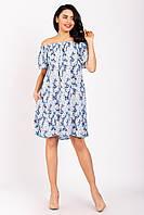 Женское платье миди свободного кроя с открытыми плечами цветочный принт  K1800S-5 голубое
