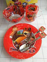 Дитячий набір скляного посуду для годування Маша і ведмідь 5 предметів