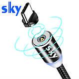 Кабель магнитный USB SKY с прикуривателем (R ZIP-line) Apple-lightning (120 см) Grey, фото 3