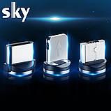 Кабель магнитный USB SKY с прикуривателем (R ZIP-line) Apple-lightning (120 см) Grey, фото 4