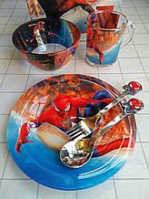 Дитячий набір скляного посуду для годування Людина павук 5 предметів