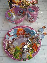 Дитячий набір скляного посуду для годування Принцеса Софія 5 предметів