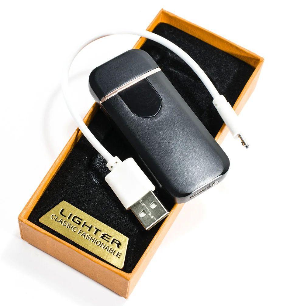 Электронная аккумуляторная спиральная зажигалка Classic Fashionable (5414 ZGP 5) черная глянцевая