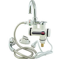 Проточный водонагреватель электрический на кран бойлер с душем и циферблатом