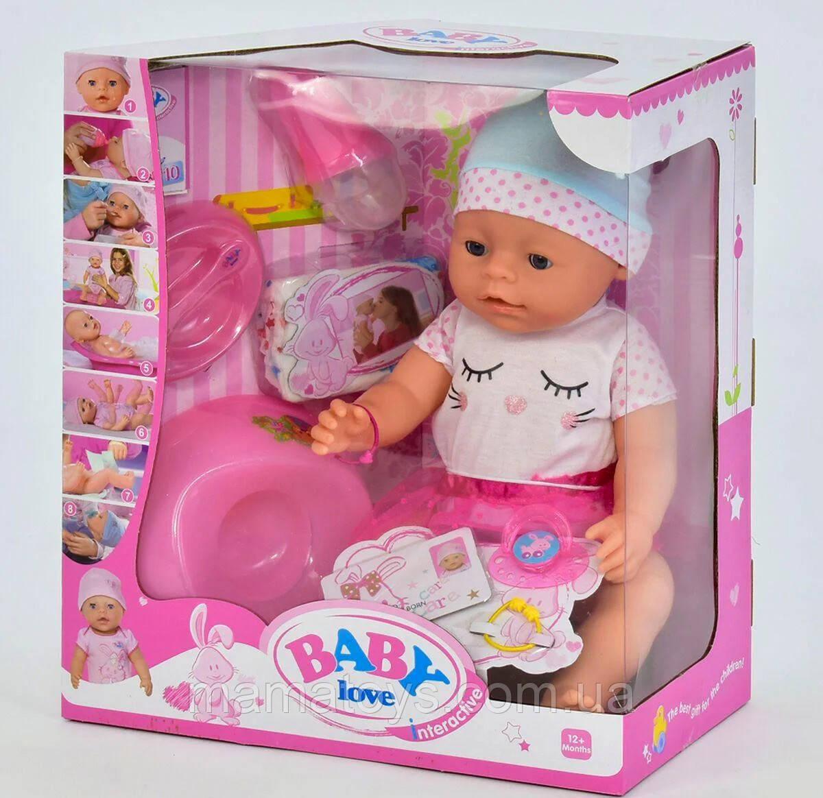 Кукла Baby Беби Пупс  BL 023 D 42 см, горшок, подгузник, соска, тарелка, каша