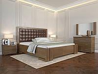 Двуспальная кровать Амбер. Деревянная кровать с мягким изголовьям