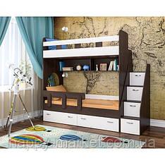 Двохярусне ліжко з сходами комодом ДКЛК - 0405