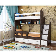 Двухярусная кровать с лестницей комодом ДКЛК- 0405