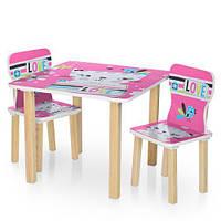 Детский столик деревянный с двумя стульчиками 506-58-1 Кошка