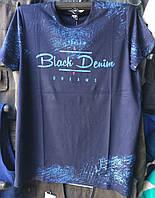 Футболка мужская норма с надписью розница темно-синий, фото 1