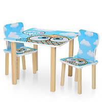 Детский столик деревянный с двумя стульчиками 506-60 Сова