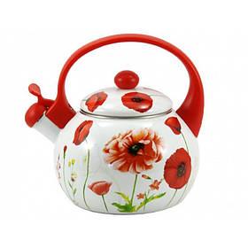 Чайник эмалированный со свистком 2,2 л красный мак Zauberg 12124 (12L)