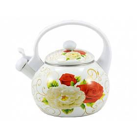 Чайник эмалированный со свистком 2,2 л White Handle Zauberg 40816 (14L)