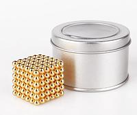 Игрушка-конструктор головоломка Неокуб Neocube 216 магнитных шариков 5 мм. (Gold)
