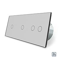 Сенсорный радиоуправляемый выключатель Livolo 4 канала (1-1-2) серый стекло (VL-C701R/C701R/C702R-15)