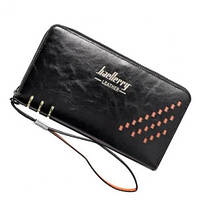 Мужской портмоне-клатч Baellerry Leather W009 цвет черный