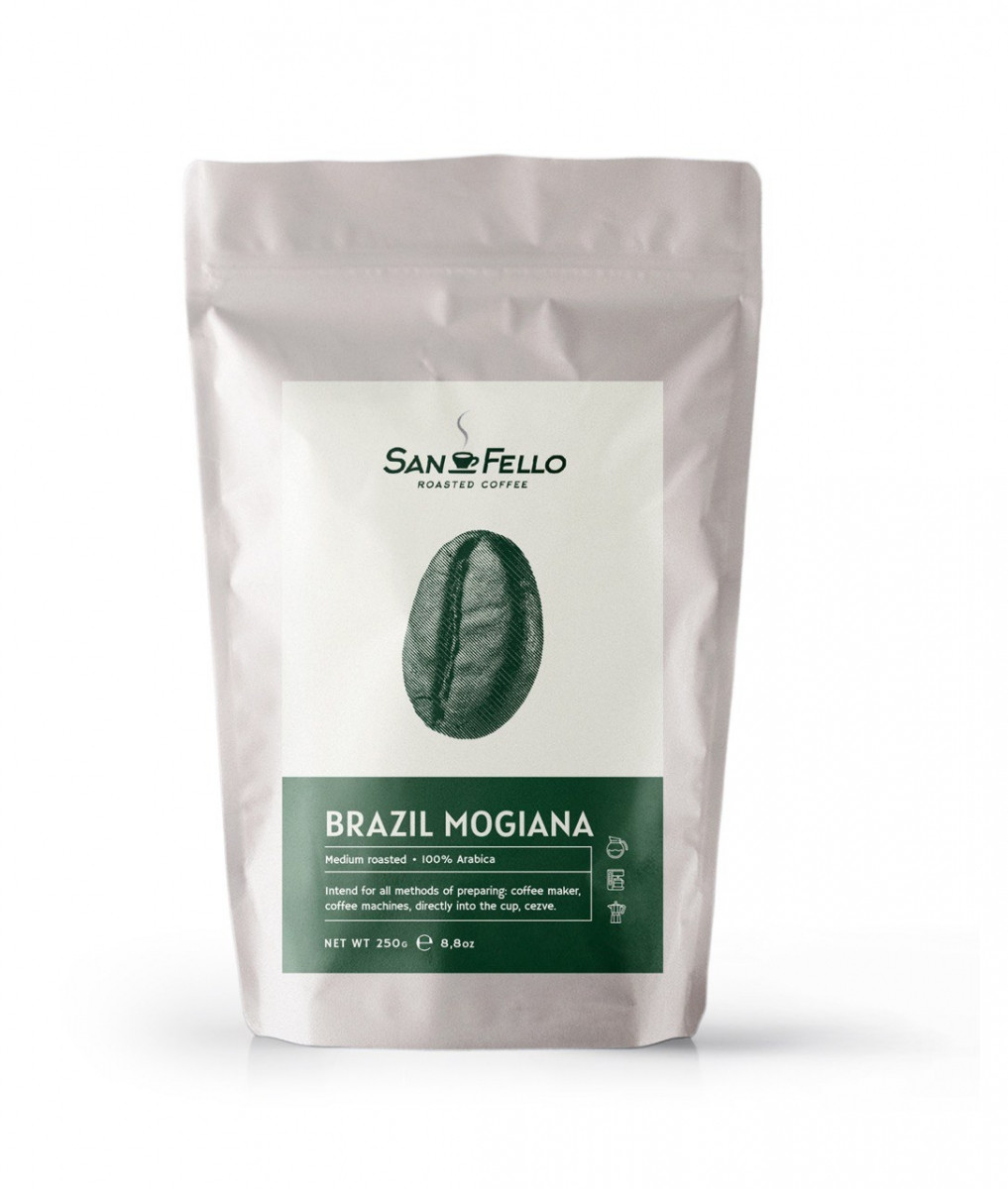 Кофе в зернах свежая обжарка Арабика Brazil Mogiana 250 грамм