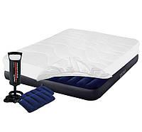 Надувной матрас Intex, 152х203х25 см, с насосом, наматрасником (чехлом), подушками