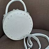 Сумочка жіноча кругла біла, фото 3