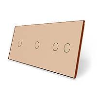 Сенсорная панель выключателя Livolo 4 канала (1-1-2) золото стекло (VL-C7-C1/C1/C2-13), фото 1