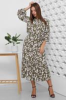 Оливковое женское платье из штапеля 42-52рр.
