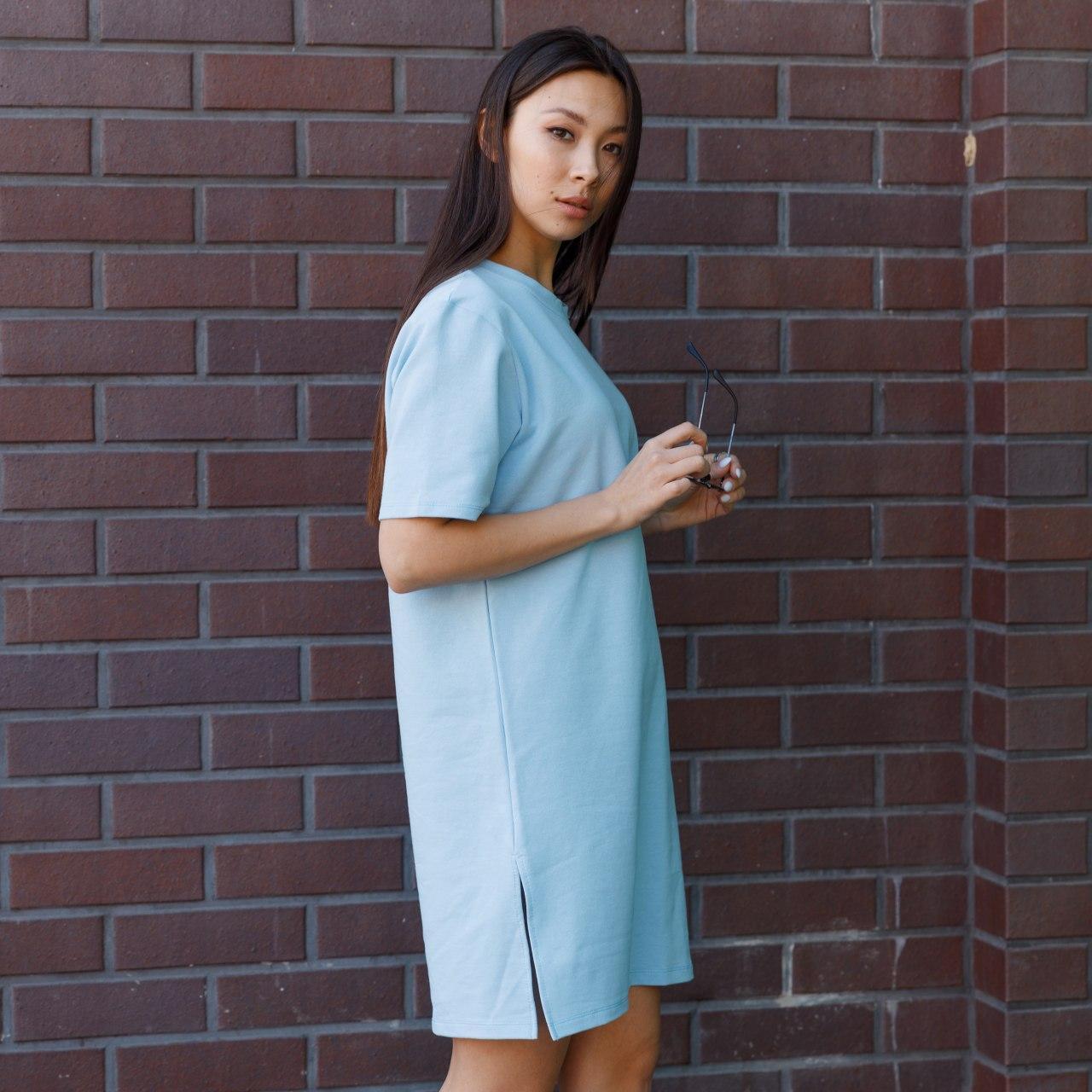 Платье-футболка женское голубое бренд ТУР модель Сарина (Sarina)