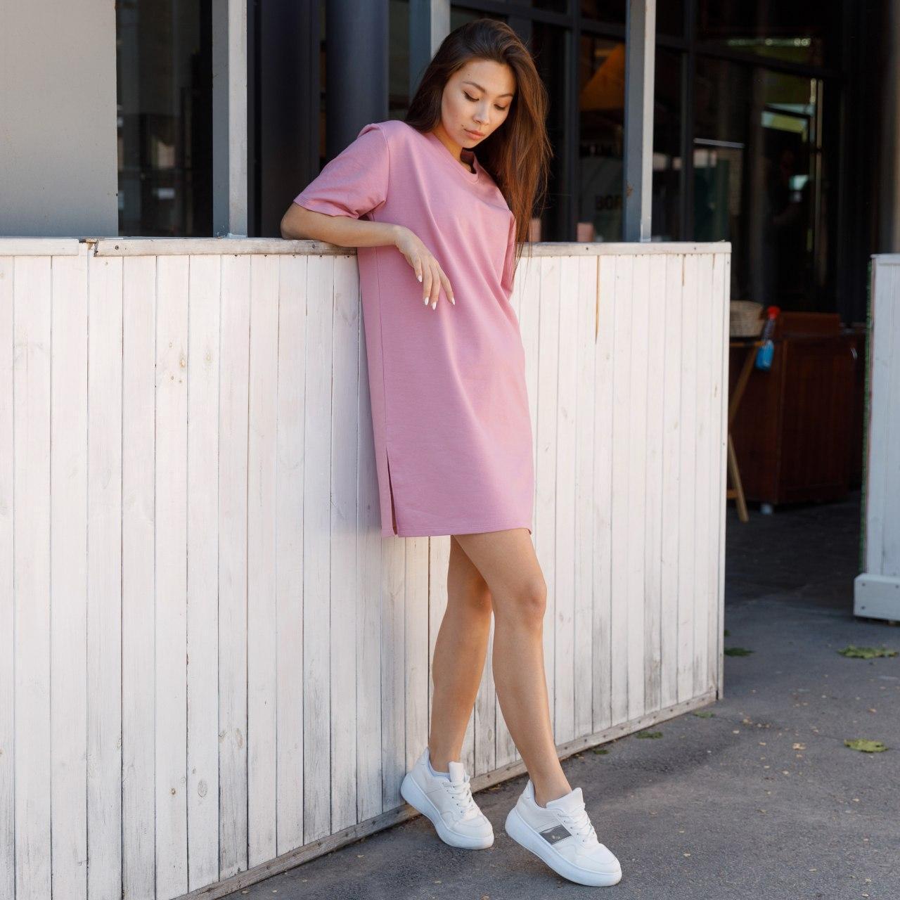 Платье-футболка женское розовое бренд ТУР модель Сарина (Sarina) размер  S, M, L