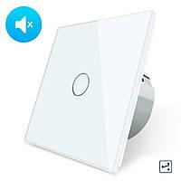 Бесшумный сенсорный проходной выключатель Livolo белый стекло (VL-C701SQ-11)