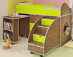 Кровать чердак с мобильным столом,  КЧД-0405