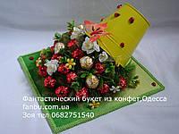 """Желтое ведерко клубники из конфет""""20+4, фото 1"""